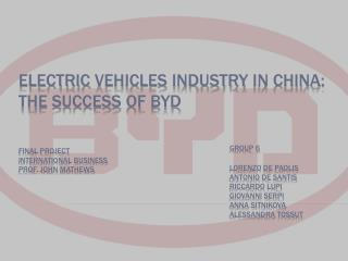 Electric vehicles industry  in china: the success  of byd