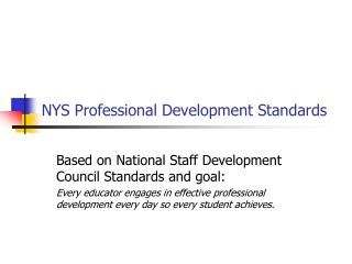 NYS Professional Development Standards