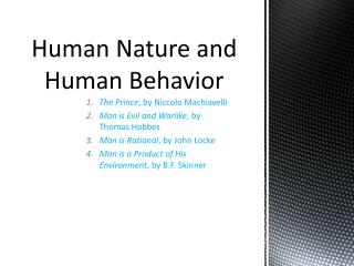 Human Nature and Human Behavior