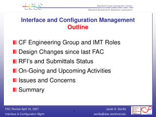 Interface and Configuration Management  Outline