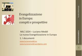 Evangelizzazione  in Europa:  compiti e prospettive