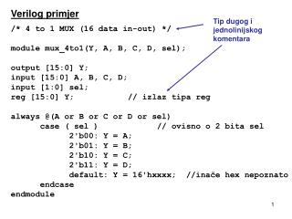 Verilog primjer / * 4 to 1 MUX (16 data in -out )  */ module mux_4to1(Y, A, B, C, D, sel);