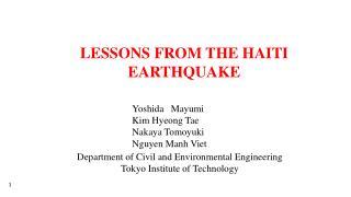 LESSONS FROM THE HAITI EARTHQUAKE