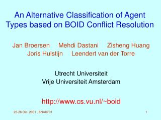 An Alternative Classification of Agent Types based on BOID Conflict Resolution