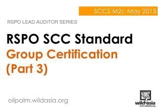 RSPO SCC Standard Group Certification (Part 3)