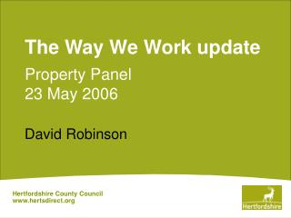The Way We Work update Property Panel  23 May 2006