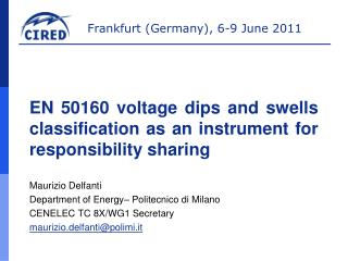 EN 50160  voltage dips and swells classification as an instrument for responsibility sharing