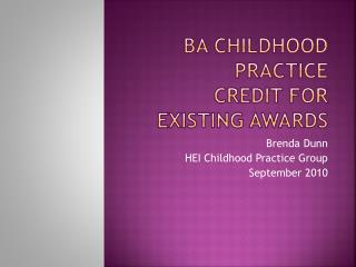 BA Childhood Practice Credit for Existing Awards