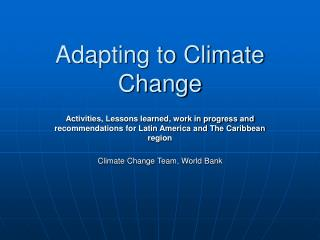 Adapting to Climate Change