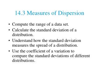 14.3 Measures of Dispersion