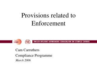Provisions related to Enforcement