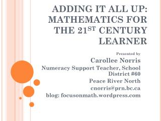 ADDING IT ALL UP:  MATHEMATICS FOR  THE 21 ST  CENTURY LEARNER
