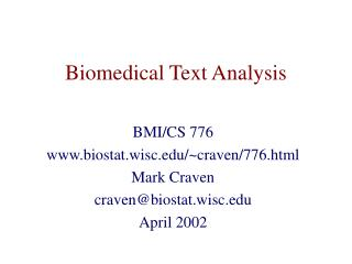 Biomedical Text Analysis
