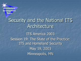 Security and the National ITS Architecture
