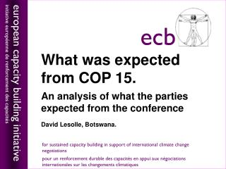 What was expected from COP 15.  An analysis of what the parties expected from the conference