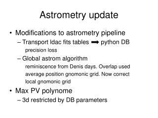 Astrometry update