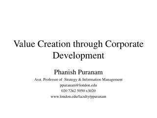Value Creation through Corporate Development