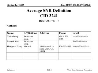 Average SNR Definition  CID 3241