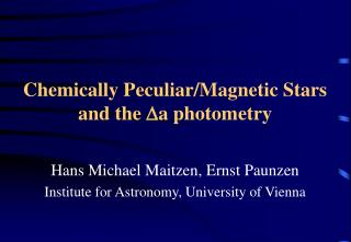 Chemically Peculiar/Magnetic Stars  and the  D a photometry