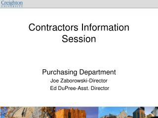 Contractors Information Session