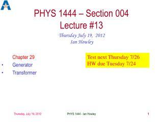 PHYS 1444 – Section 004 Lecture #13