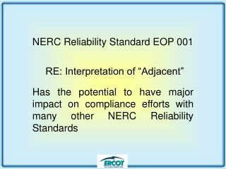 NERC Reliability Standard EOP 001