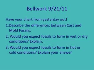 Bellwork 9/21/11