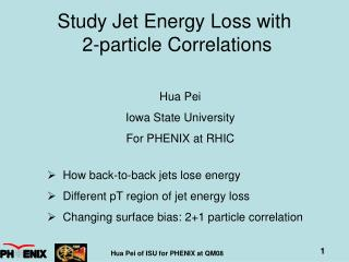Study Jet Energy Loss with  2-particle Correlations