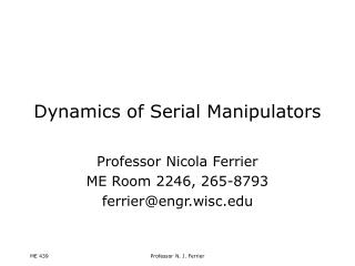 Dynamics of Serial Manipulators