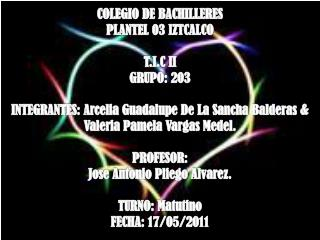 COLEGIO DE BACHILLERES PLANTEL 03 IZTCALCO T.I.C II GRUPO: 203