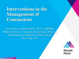 Interventions in the Management of Concussions