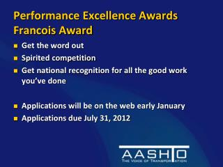 Performance Excellence Awards Francois Award