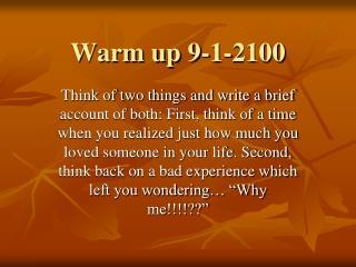 Warm up 9-1-2100