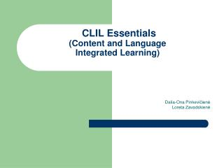 CLIL  Essentials (Content and Language  Integrated Learning)