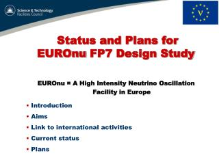 Status and Plans for  EUROnu  FP7 Design Study