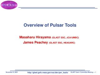 Overview of Pulsar Tools