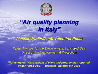 """Air quality planning  in Italy"""