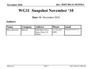 WG11  Snapshot November '10