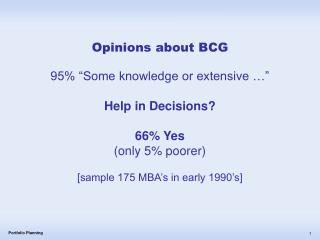 Opinions about BCG