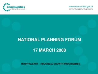 NATIONAL PLANNING FORUM 17 MARCH 2008