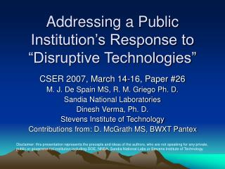 """Addressing a Public Institution's Response to """"Disruptive Technologies"""""""