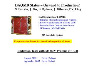 DAQMB Status – Onward to Production! S. Durkin, J. Gu, B. Bylsma, J. Gilmore,T.Y. Ling
