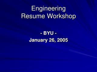Engineering Resume Workshop