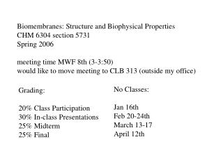 Biomembranes: Structure and Biophysical Properties CHM 6304 section 5731 Spring 2006