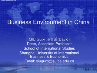 Business Environment in China