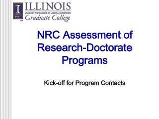 NRC Assessment of Research-Doctorate Programs  Kick-off for Program Contacts