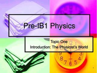 Pre-IB1 Physics