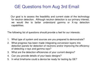 GE Questions from Aug 3rd Email