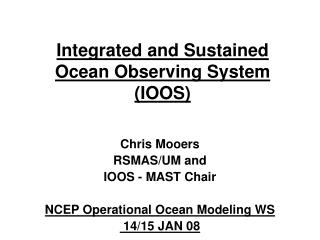 Integrated and Sustained Ocean Observing System IOOS