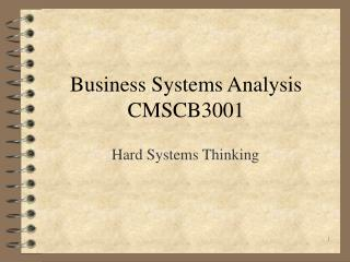 Business Systems Analysis CMSCB3001